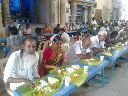 Meals feeding at temples